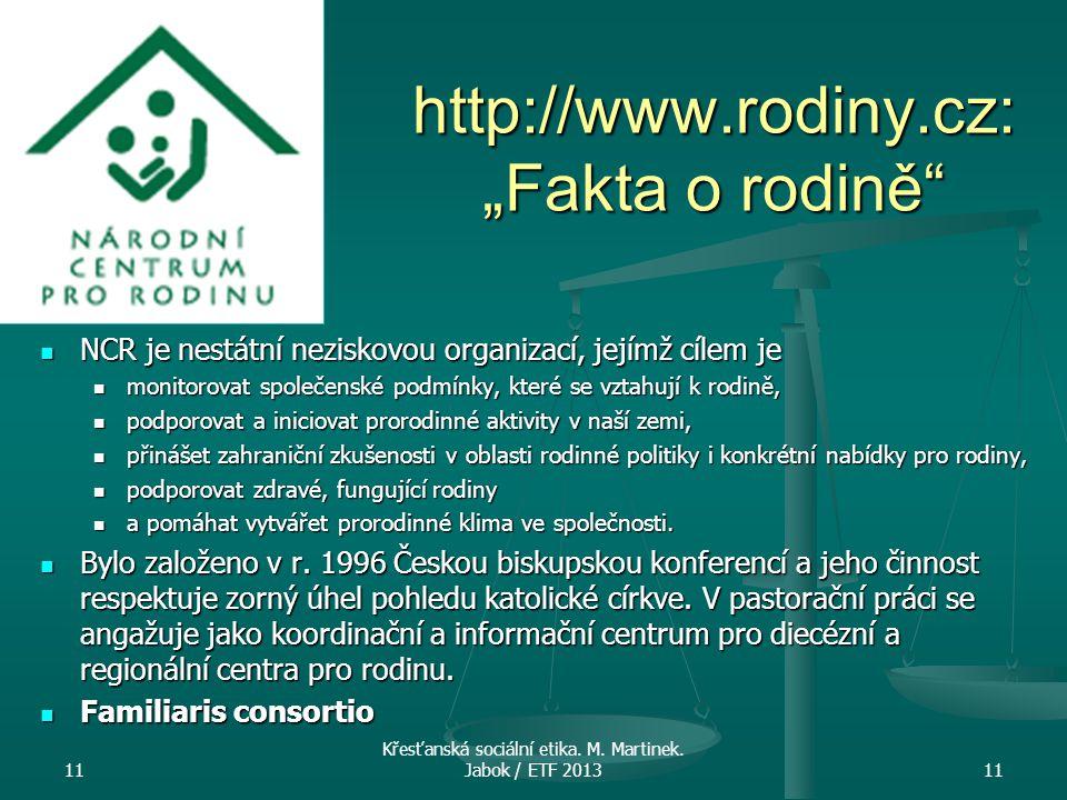 """http://www.rodiny.cz: """"Fakta o rodině"""