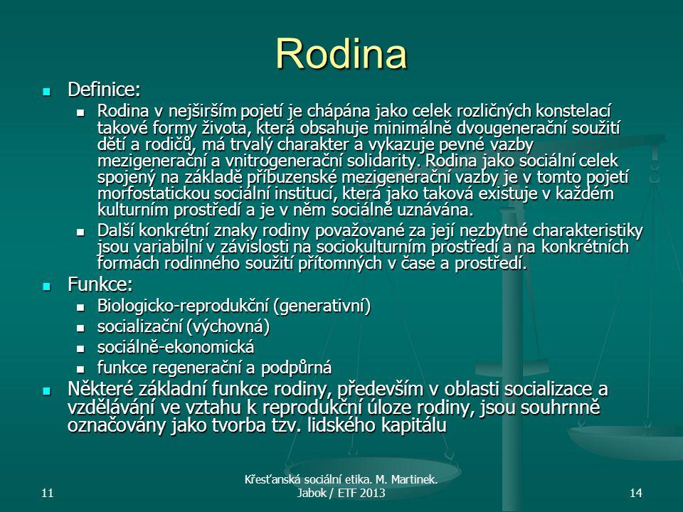 Křesťanská sociální etika. M. Martinek. Jabok / ETF 2013