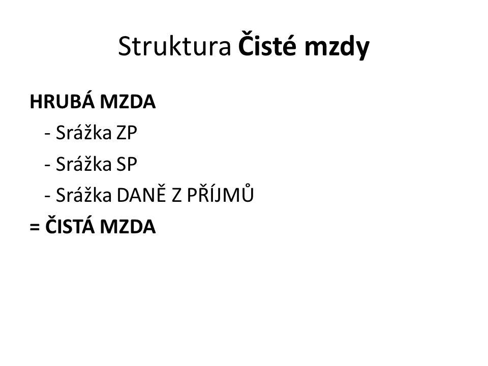 Struktura Čisté mzdy HRUBÁ MZDA - Srážka ZP - Srážka SP - Srážka DANĚ Z PŘÍJMŮ = ČISTÁ MZDA