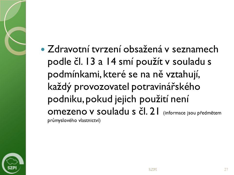 Zdravotní tvrzení obsažená v seznamech podle čl