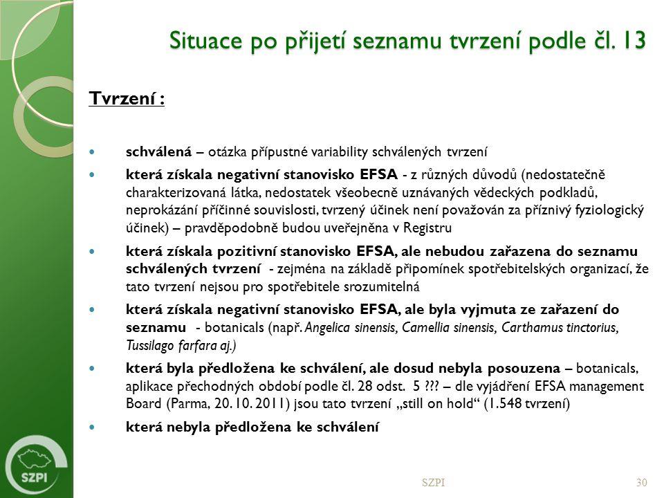 Situace po přijetí seznamu tvrzení podle čl. 13
