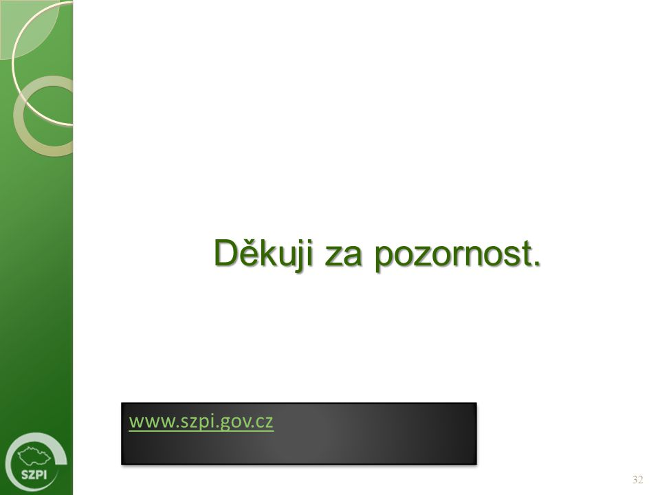 Děkuji za pozornost. www.szpi.gov.cz