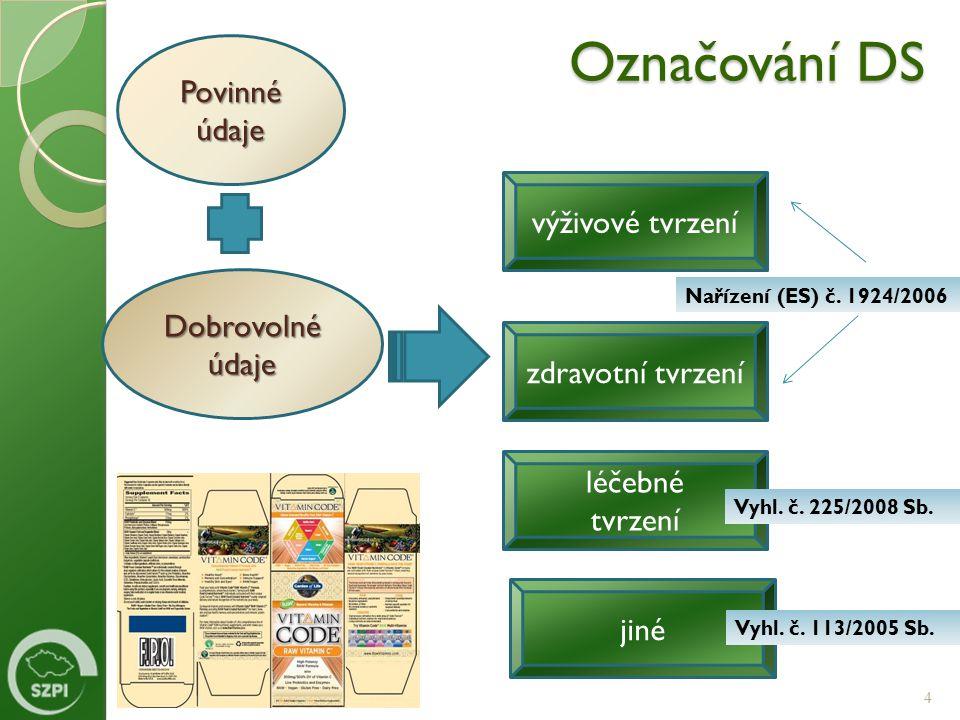 Označování DS Povinné údaje výživové tvrzení Dobrovolné údaje