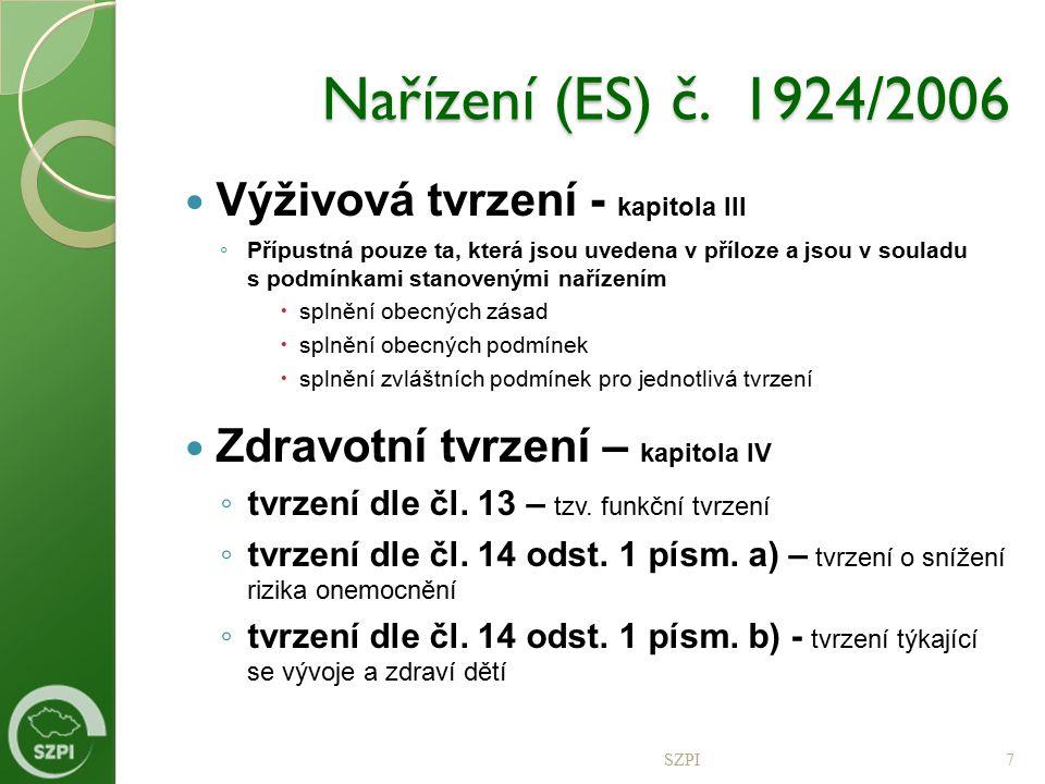 Nařízení (ES) č. 1924/2006 Výživová tvrzení - kapitola III