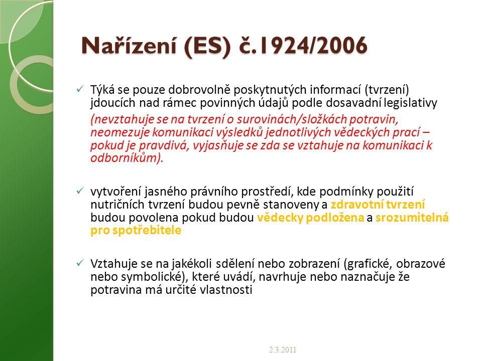 Nařízení (ES) č.1924/2006 Týká se pouze dobrovolně poskytnutých informací (tvrzení) jdoucích nad rámec povinných údajů podle dosavadní legislativy.