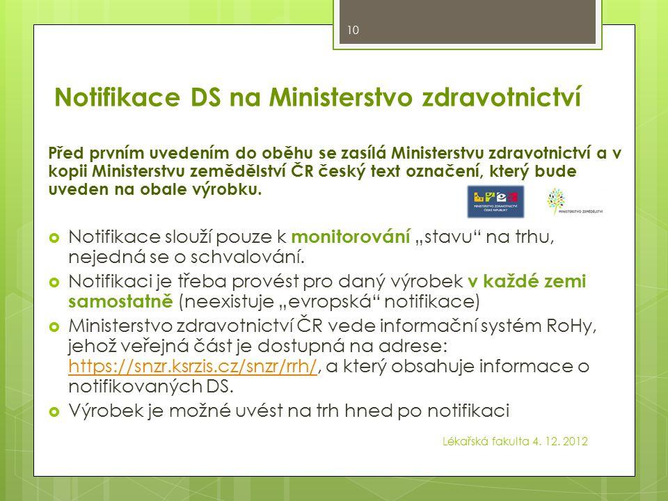 Notifikace DS na Ministerstvo zdravotnictví