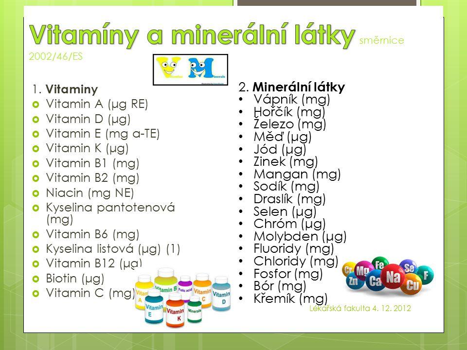 Vitamíny a minerální látky směrnice 2002/46/ES