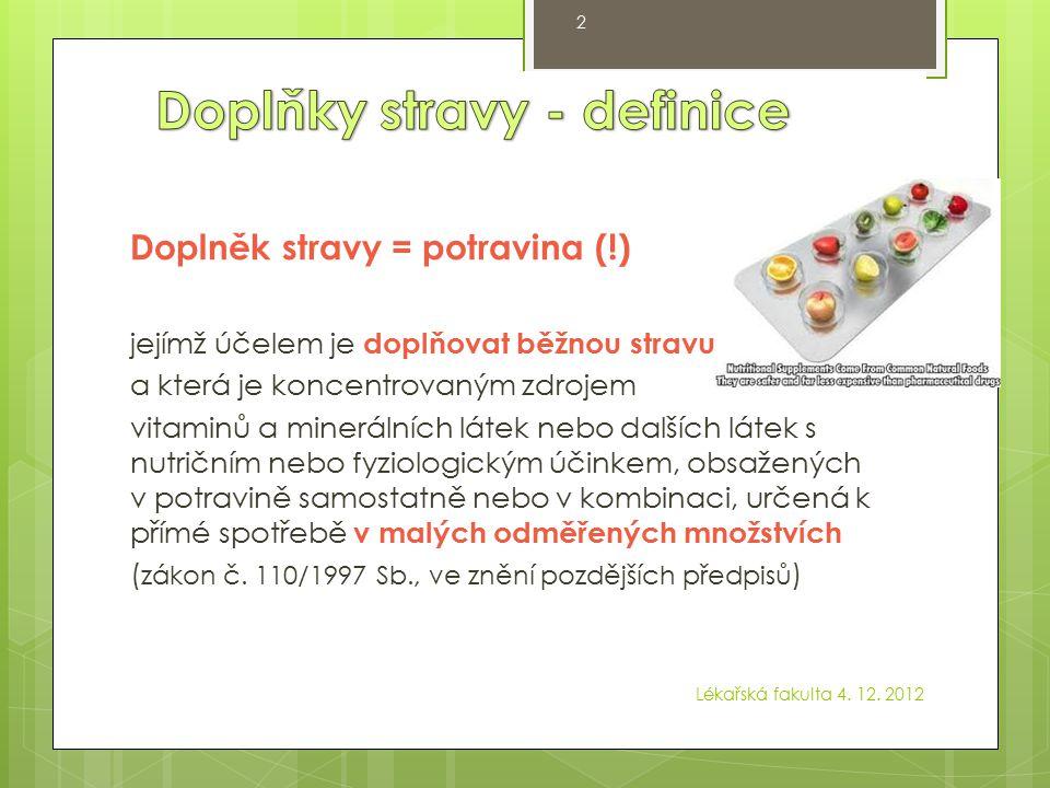 Doplňky stravy - definice