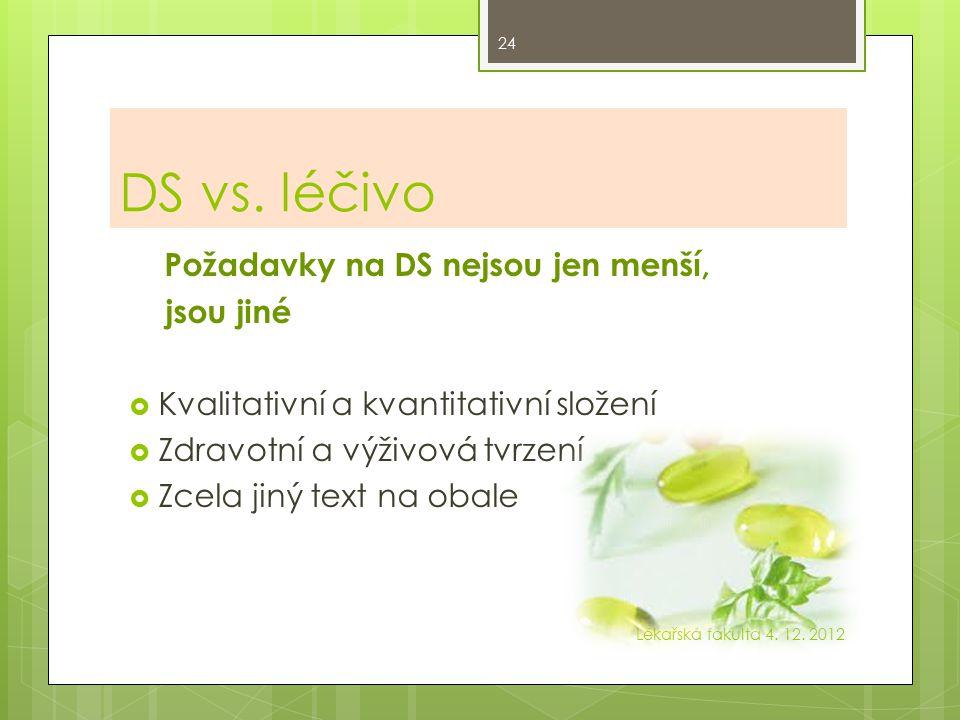 DS vs. léčivo Požadavky na DS nejsou jen menší, jsou jiné