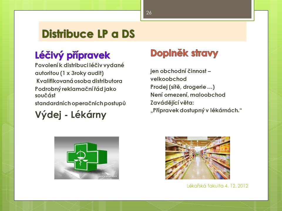 Distribuce LP a DS Doplněk stravy Léčivý přípravek Výdej - Lékárny