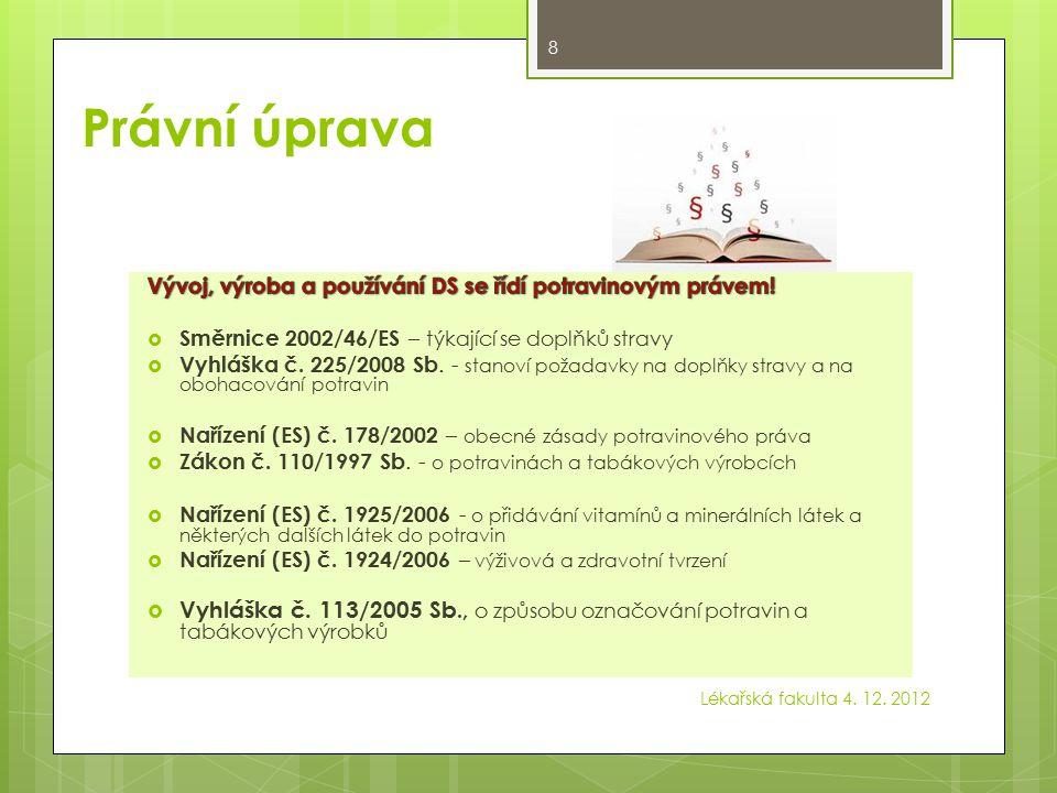 Právní úprava Vývoj, výroba a používání DS se řídí potravinovým právem! Směrnice 2002/46/ES – týkající se doplňků stravy.