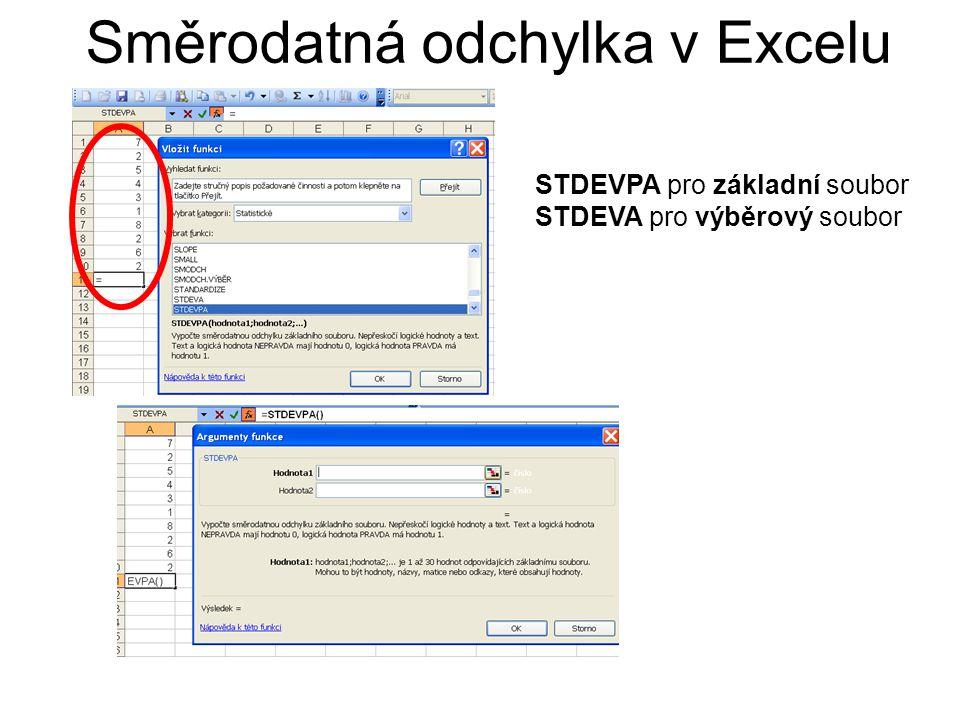 Směrodatná odchylka v Excelu