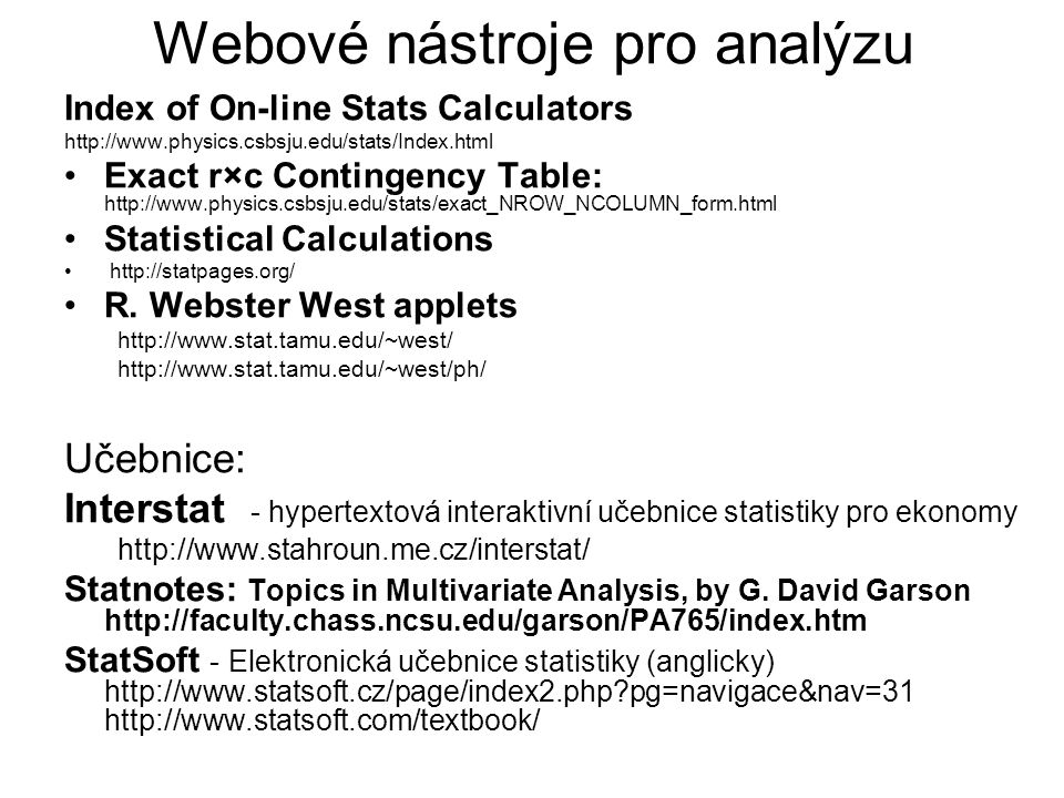 Webové nástroje pro analýzu