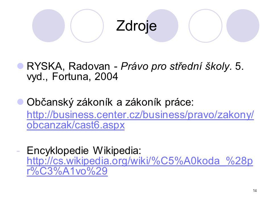 Zdroje RYSKA, Radovan - Právo pro střední školy. 5. vyd., Fortuna, 2004. Občanský zákoník a zákoník práce: