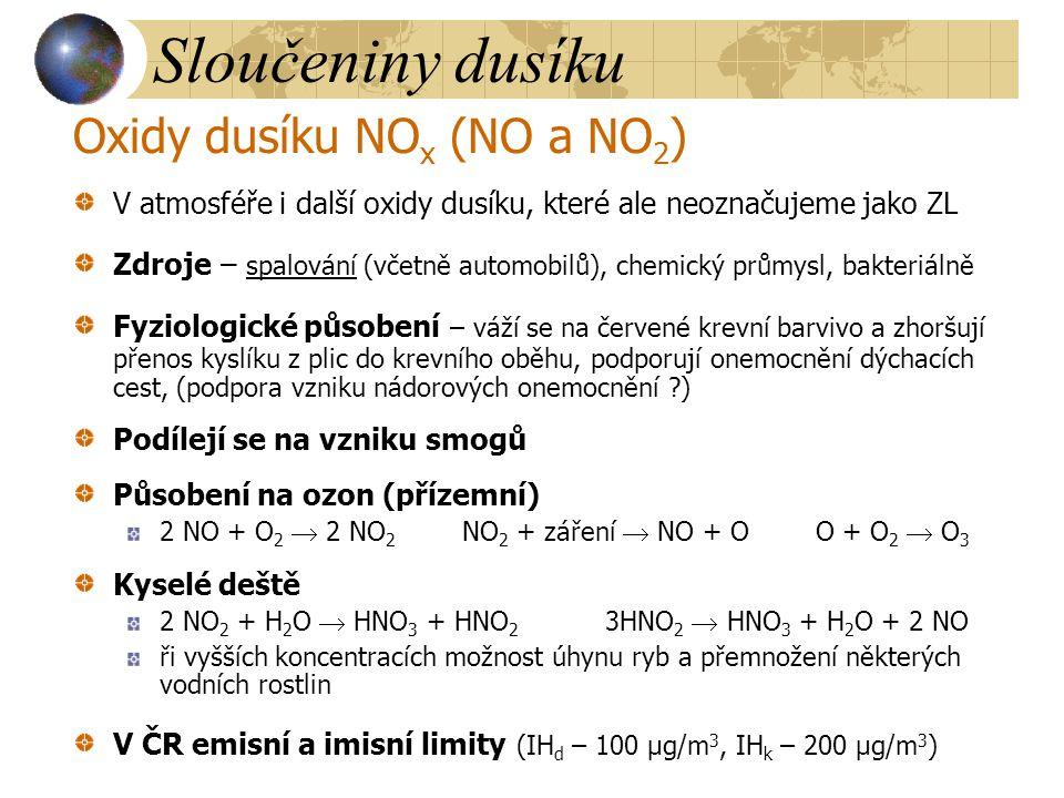 Sloučeniny dusíku Oxidy dusíku NOx (NO a NO2)