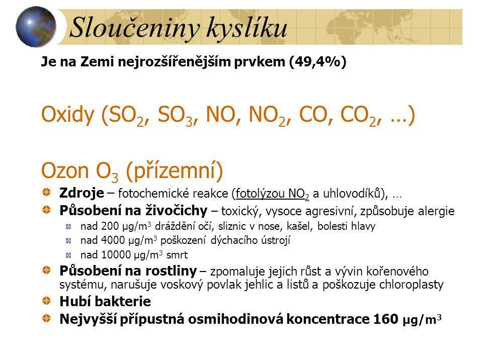 Sloučeniny kyslíku Oxidy (SO2, SO3, NO, NO2, CO, CO2, …)