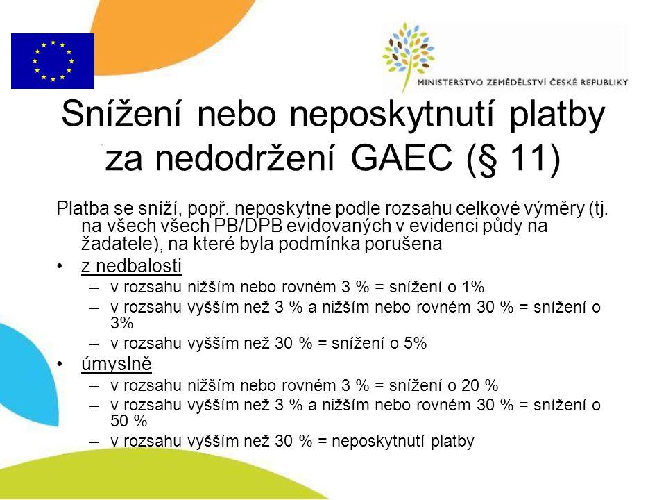 Snížení nebo neposkytnutí platby za nedodržení GAEC (§ 11)
