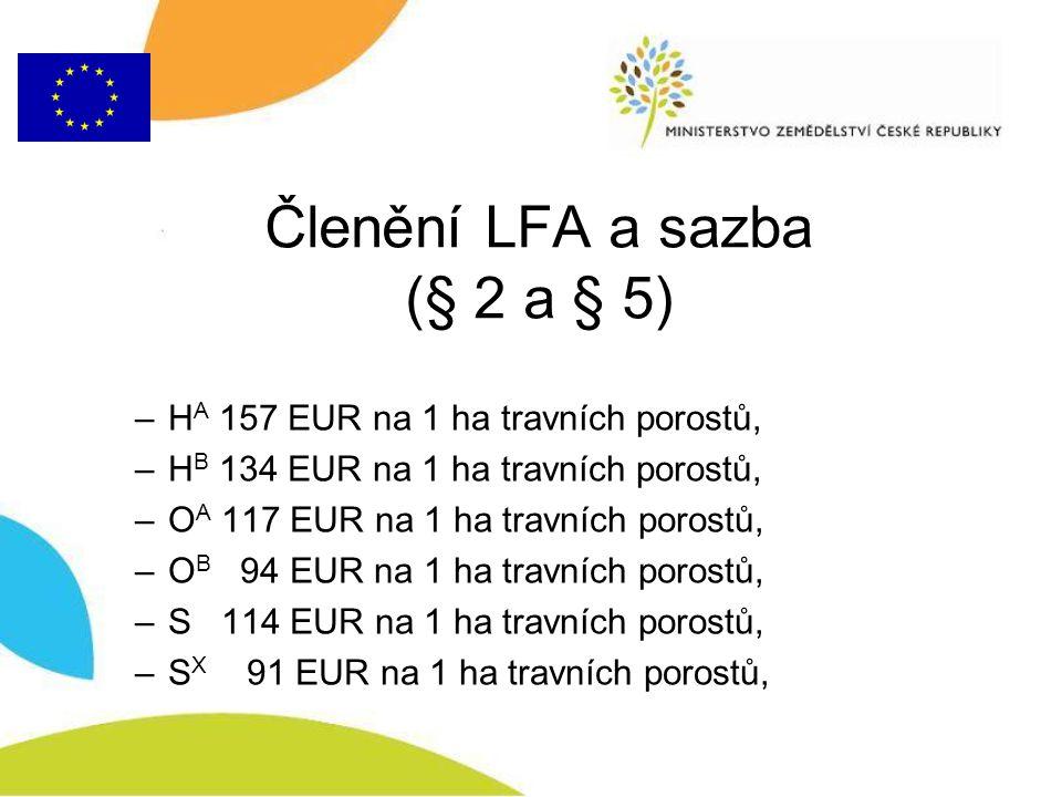 Členění LFA a sazba (§ 2 a § 5)