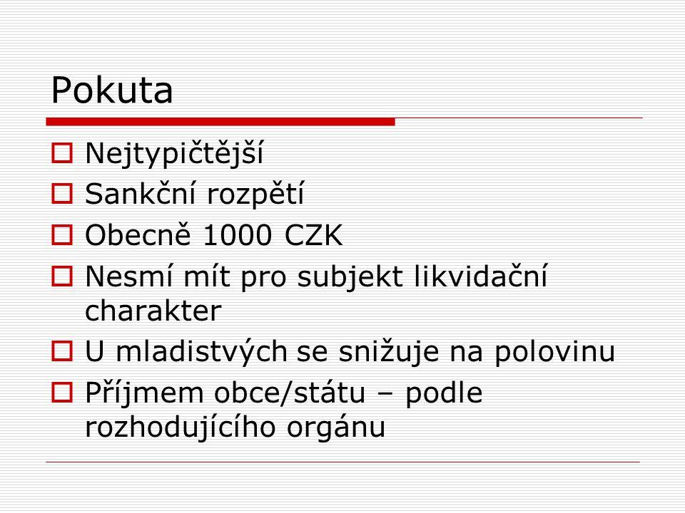 Pokuta Nejtypičtější Sankční rozpětí Obecně 1000 CZK