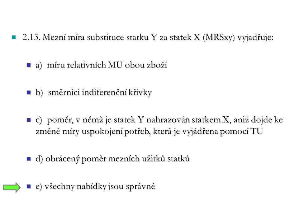 2.13. Mezní míra substituce statku Y za statek X (MRSxy) vyjadřuje: