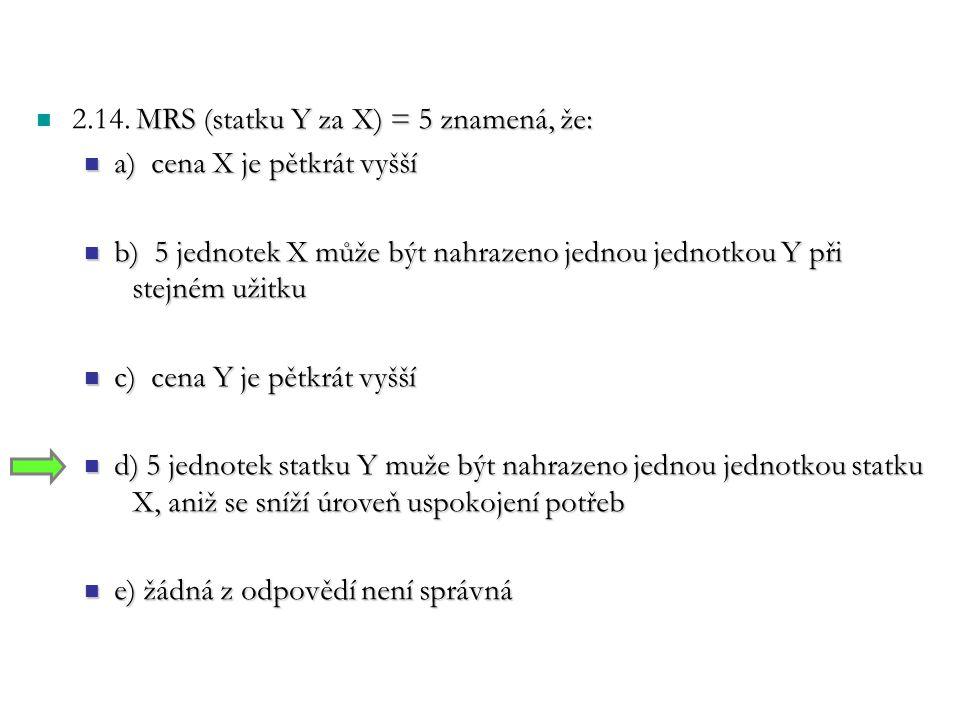 2.14. MRS (statku Y za X) = 5 znamená, že: