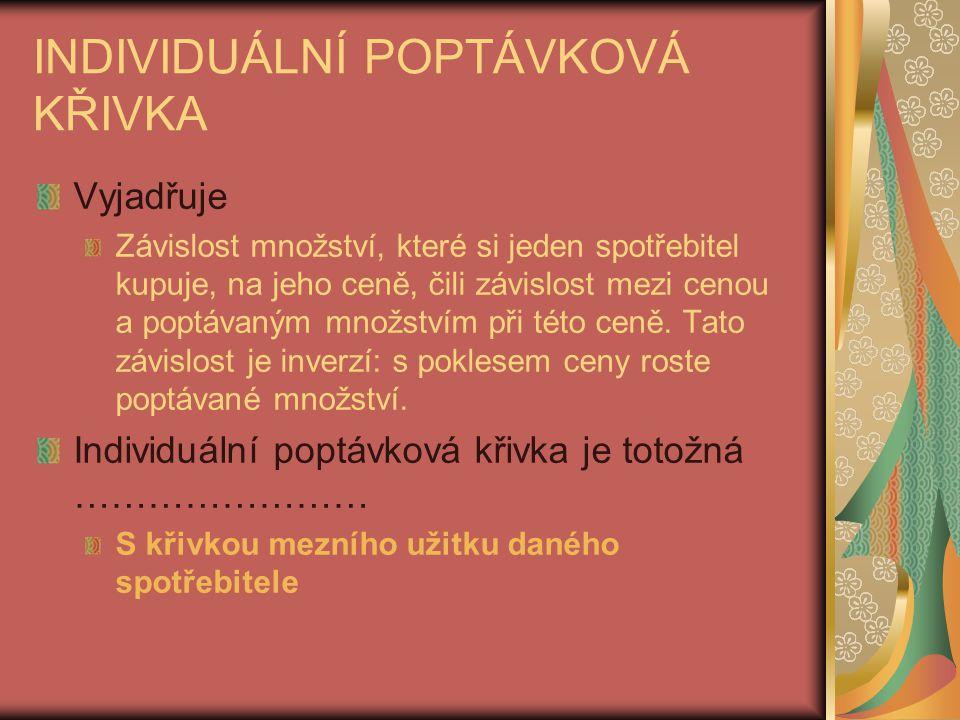 INDIVIDUÁLNÍ POPTÁVKOVÁ KŘIVKA