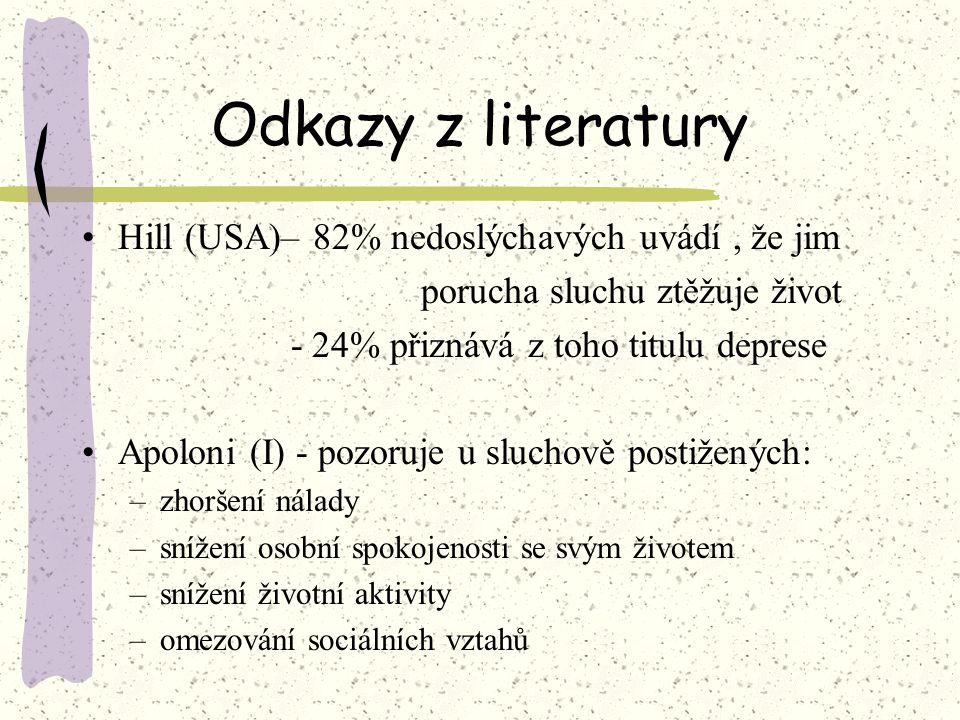 Odkazy z literatury Hill (USA)– 82% nedoslýchavých uvádí , že jim