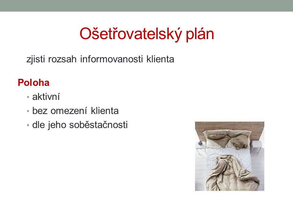 Ošetřovatelský plán zjisti rozsah informovanosti klienta Poloha