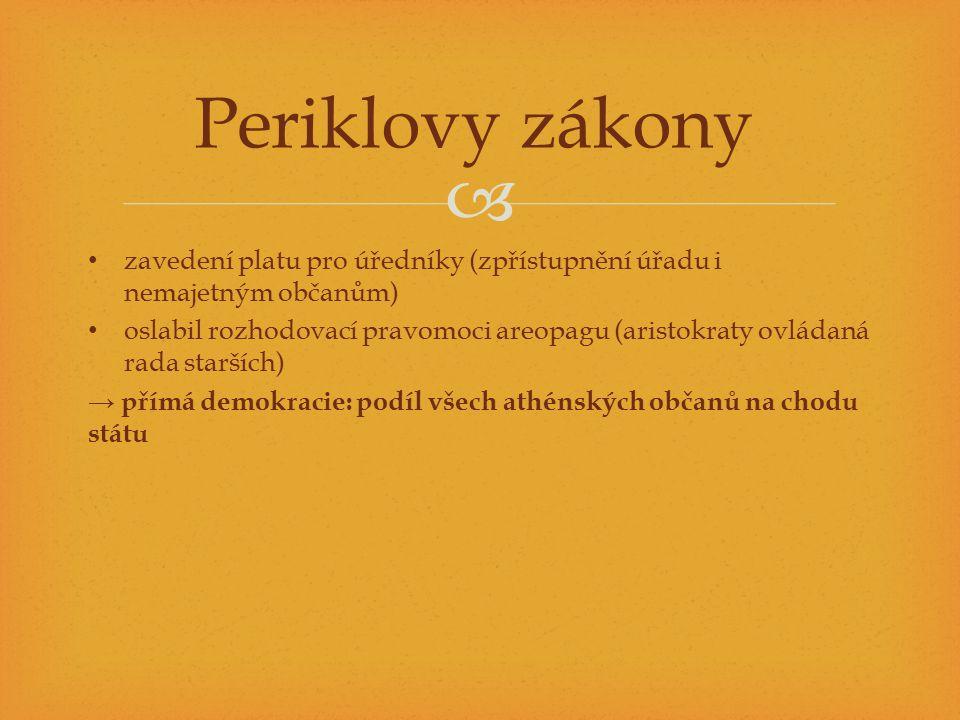 Periklovy zákony zavedení platu pro úředníky (zpřístupnění úřadu i nemajetným občanům)
