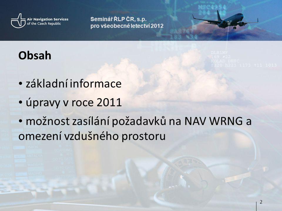 možnost zasílání požadavků na NAV WRNG a omezení vzdušného prostoru