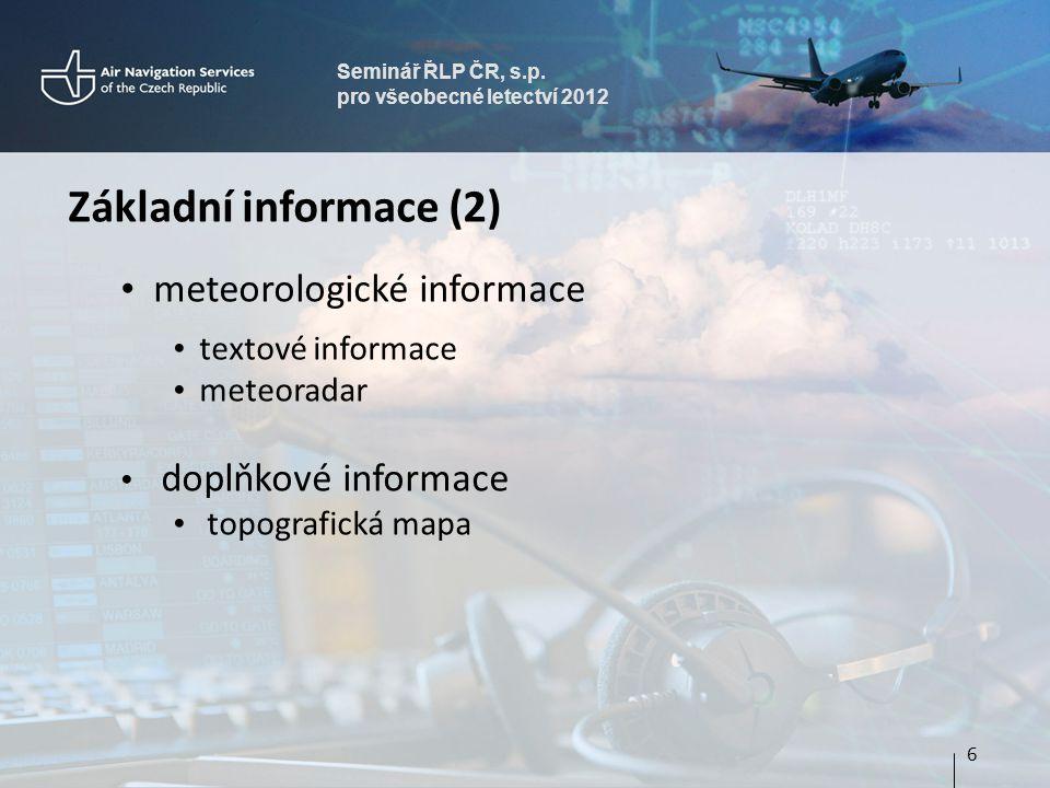Základní informace (2) meteorologické informace textové informace