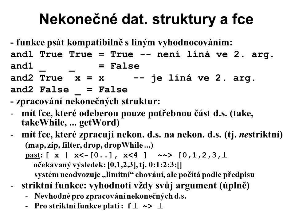 Nekonečné dat. struktury a fce