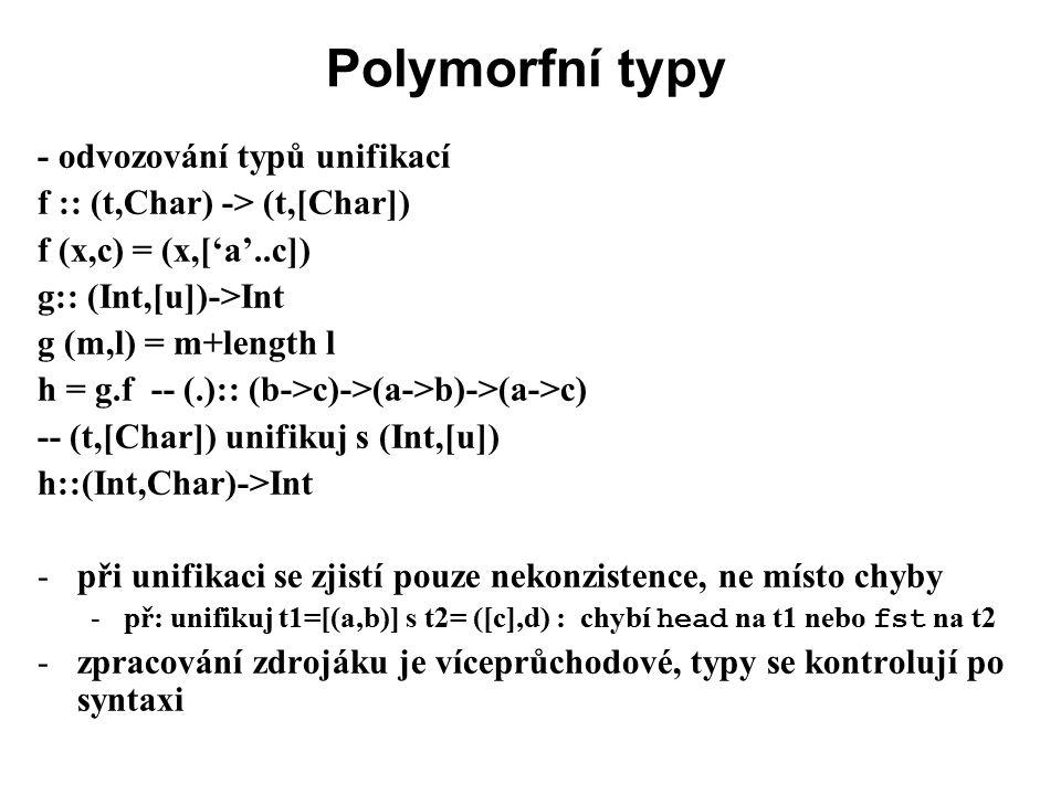 Polymorfní typy - odvozování typů unifikací