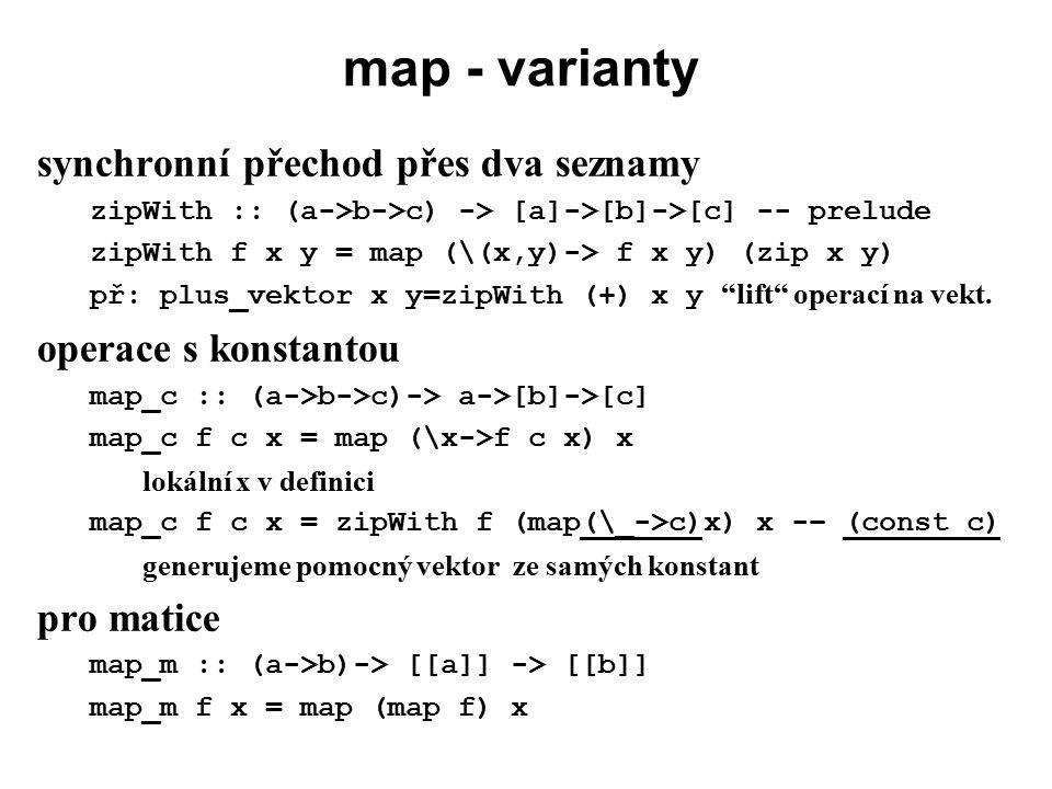 map - varianty synchronní přechod přes dva seznamy
