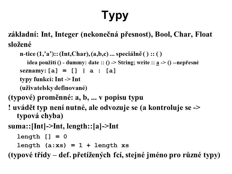 Typy základní: Int, Integer (nekonečná přesnost), Bool, Char, Float