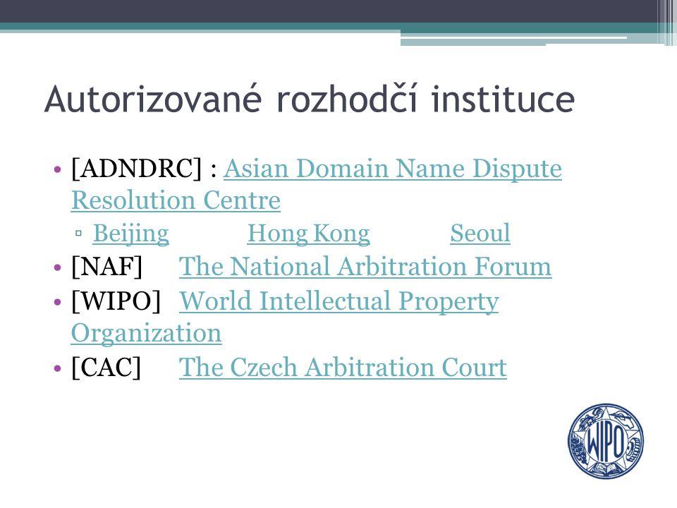 Autorizované rozhodčí instituce