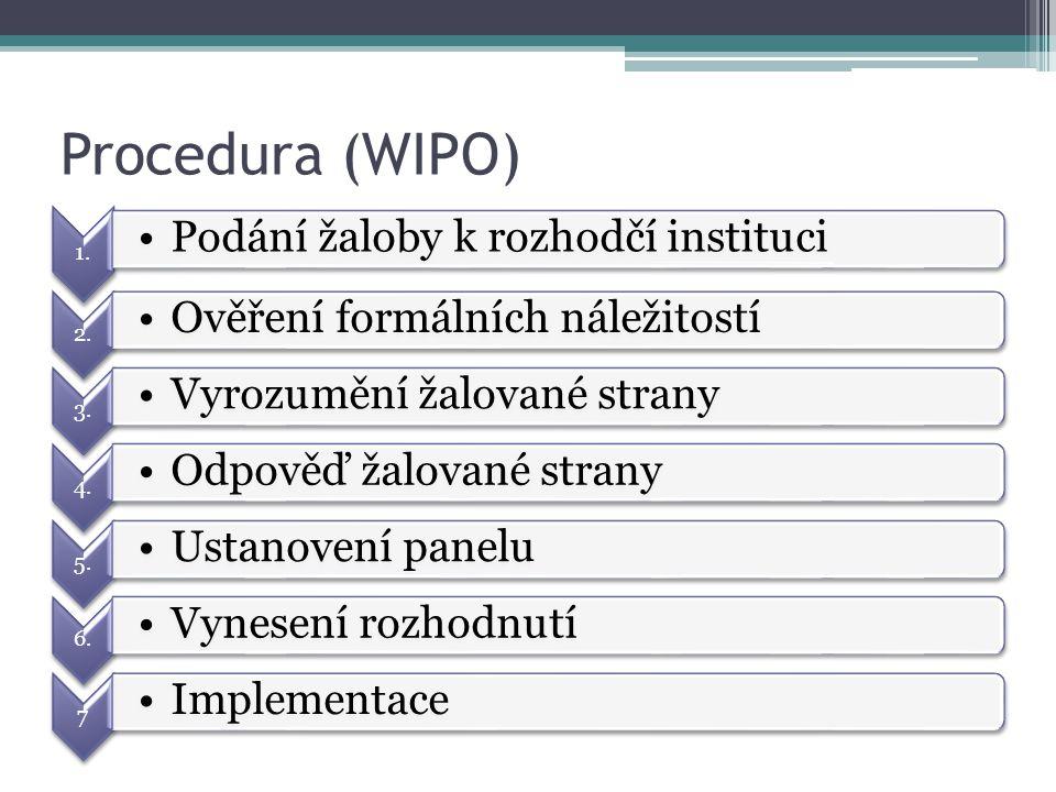 Procedura (WIPO) 1. Podání žaloby k rozhodčí instituci 2.