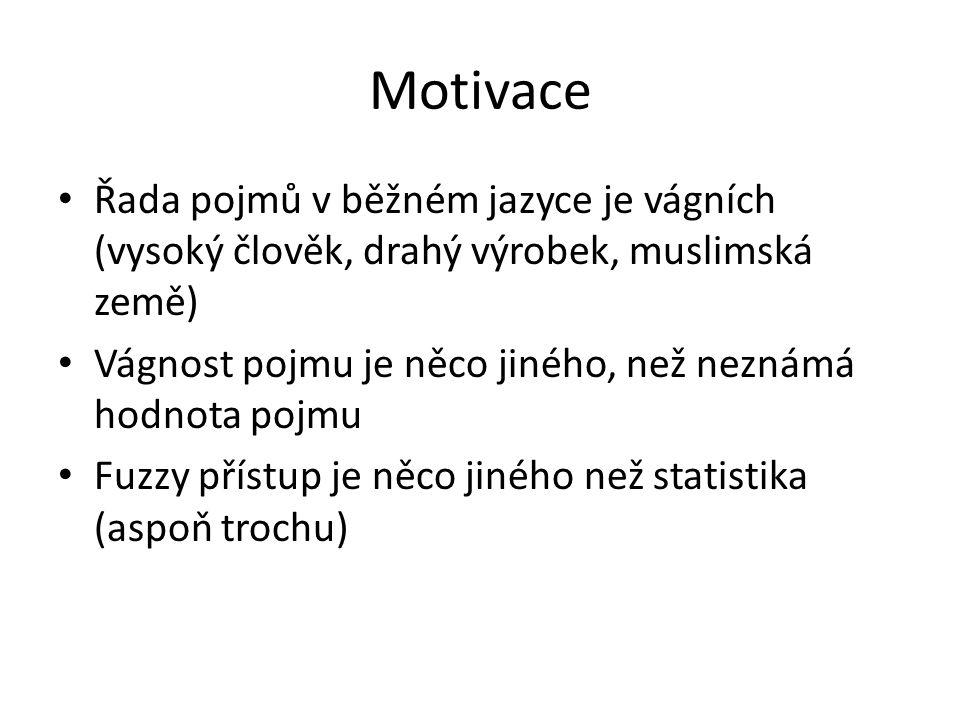 Motivace Řada pojmů v běžném jazyce je vágních (vysoký člověk, drahý výrobek, muslimská země)