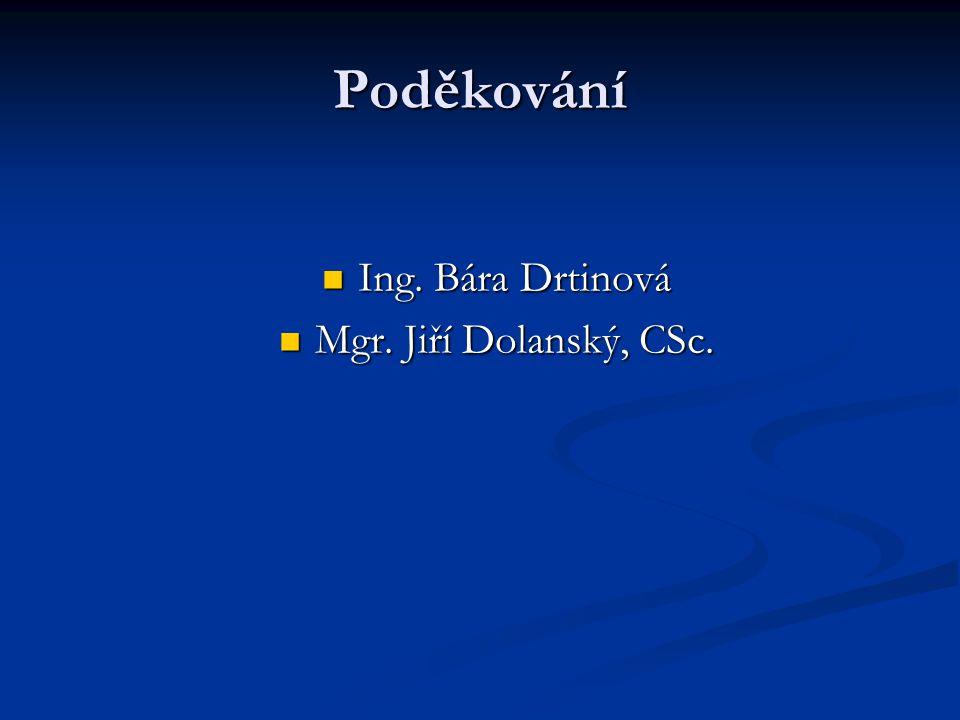 Poděkování Ing. Bára Drtinová Mgr. Jiří Dolanský, CSc.