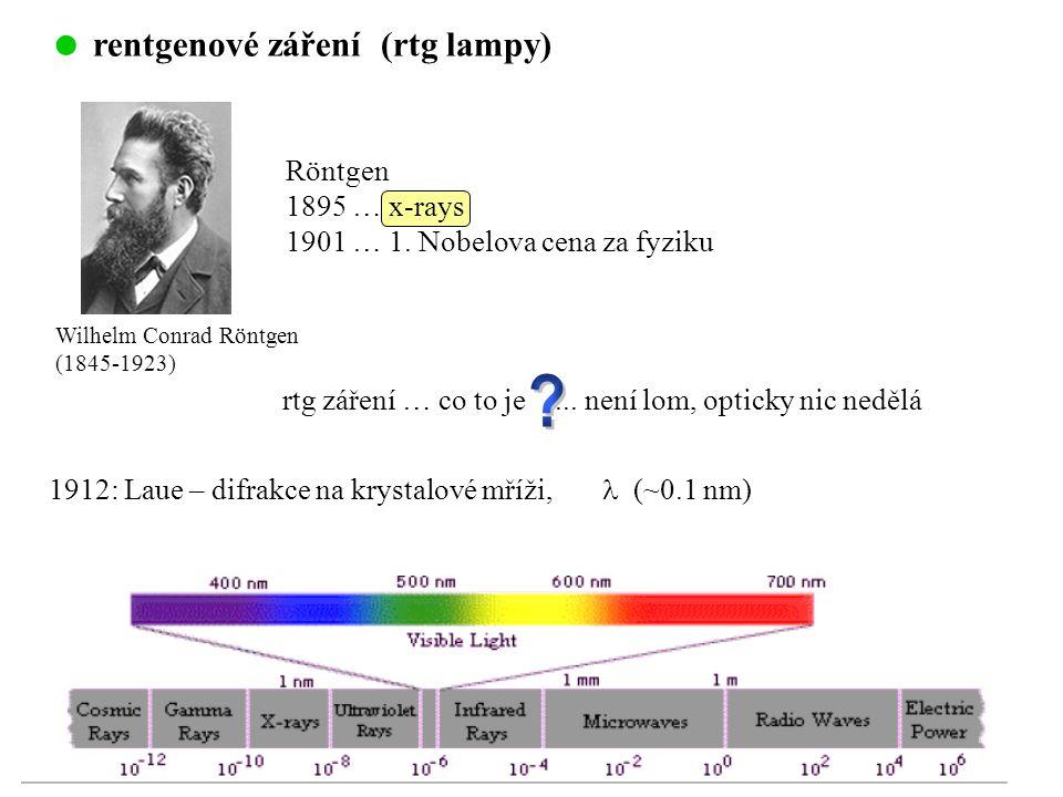 rentgenové záření (rtg lampy) Röntgen 1895 … x-rays