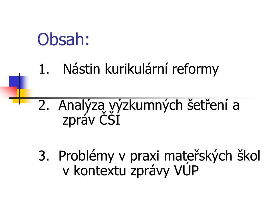 Obsah: 1. Nástin kurikulární reformy