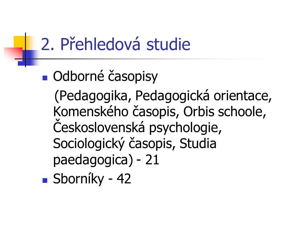 2. Přehledová studie Odborné časopisy