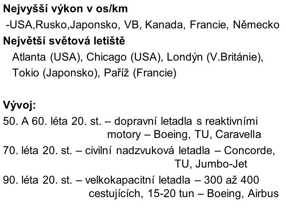 Nejvyšší výkon v os/km -USA,Rusko,Japonsko, VB, Kanada, Francie, Německo. Největší světová letiště.