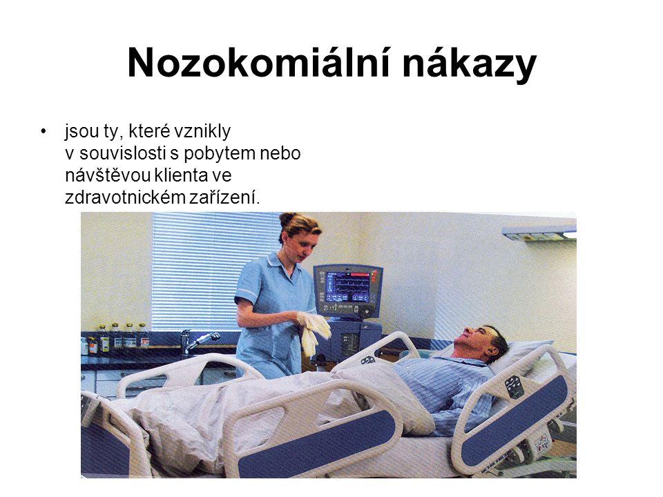 Nozokomiální nákazy jsou ty, které vznikly v souvislosti s pobytem nebo návštěvou klienta ve zdravotnickém zařízení.