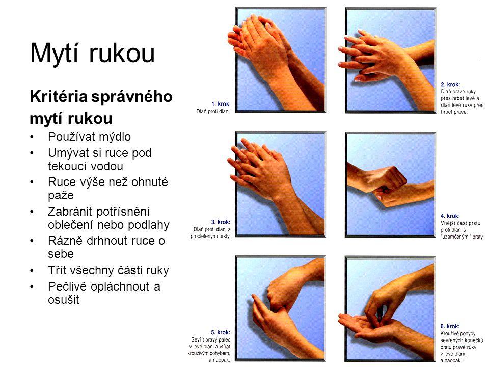 Mytí rukou Kritéria správného mytí rukou Používat mýdlo