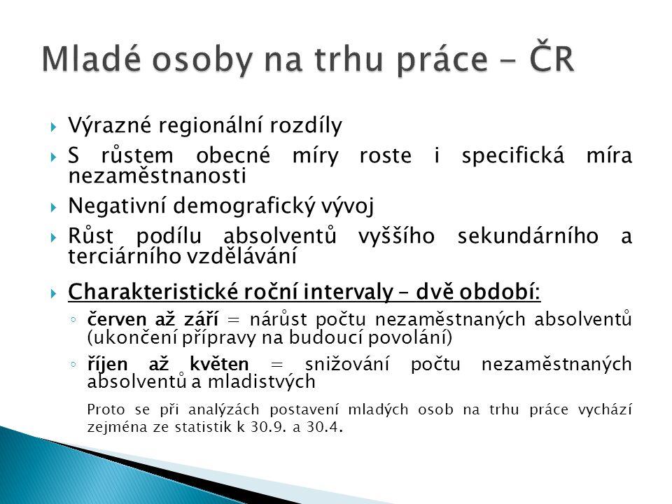 Mladé osoby na trhu práce - ČR