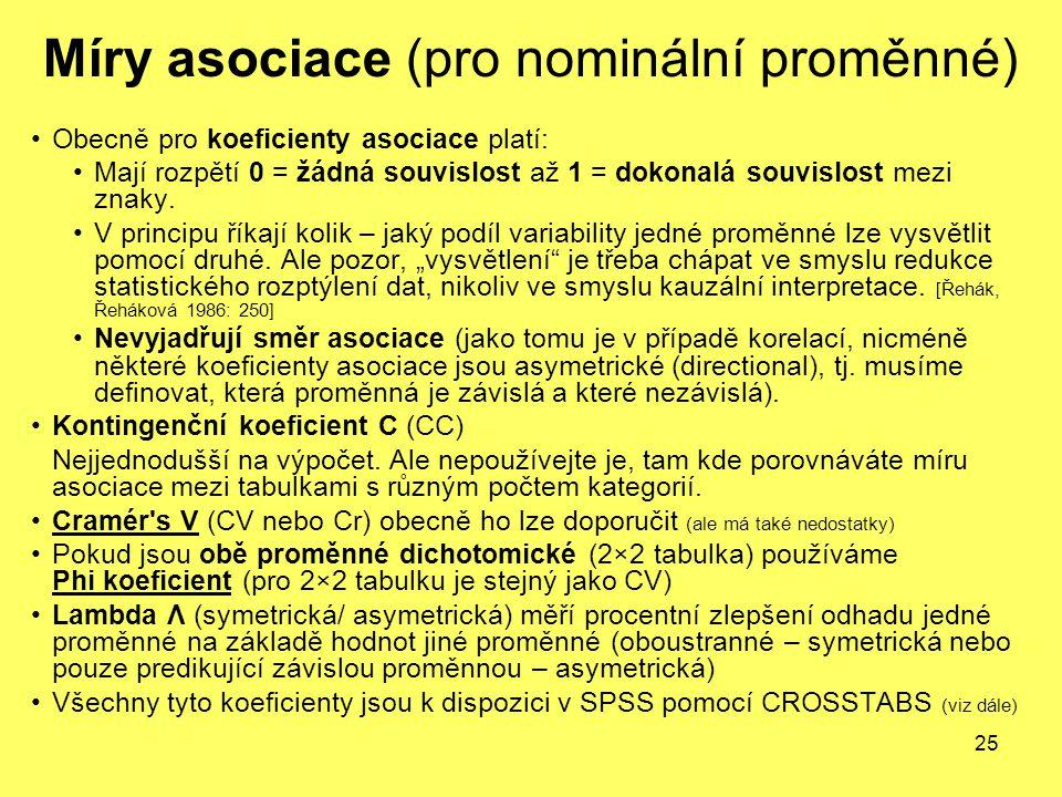 Míry asociace (pro nominální proměnné)