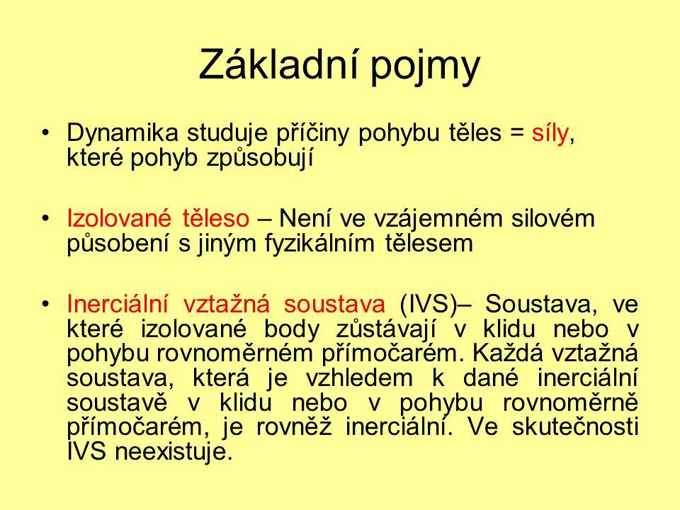 Základní pojmy Dynamika studuje příčiny pohybu těles = síly, které pohyb způsobují.