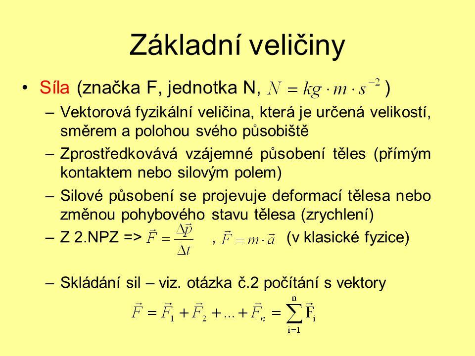 Základní veličiny Síla (značka F, jednotka N, )