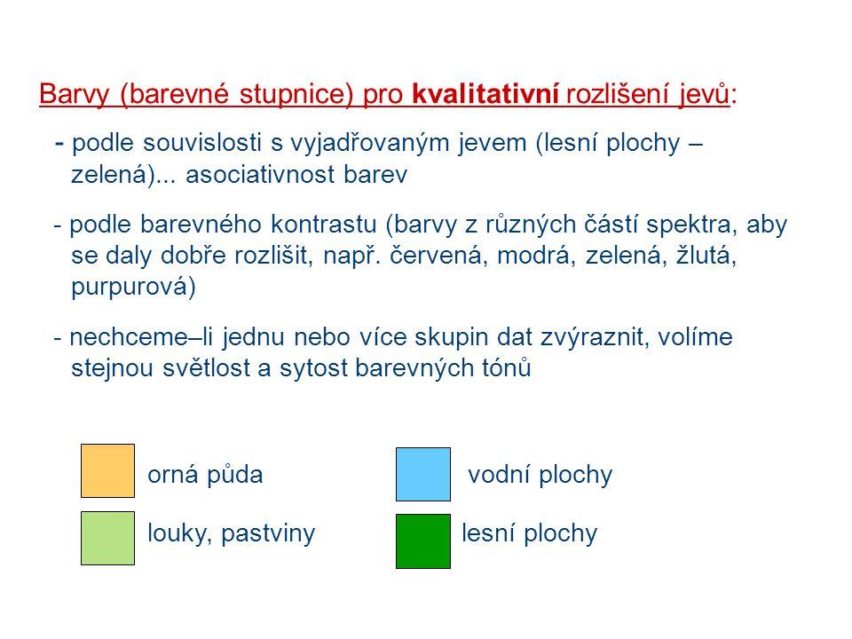 Barvy (barevné stupnice) pro kvalitativní rozlišení jevů: